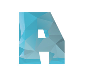 A alphabet in colorful glass polygon