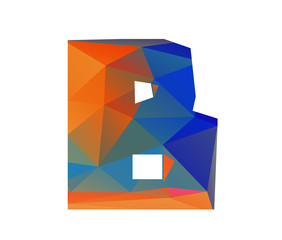 B beta alphabet in colorful glass polygon