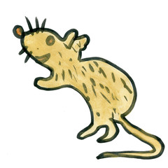cartoon rat isolated on white background cartoon watercolor