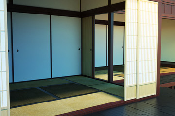 The image of the interior of empty rooms in the building in the Japanese style. 3d illustration.