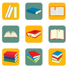 Book flat icons set