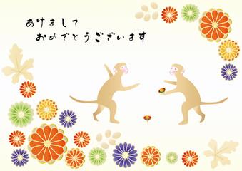 コマ回しをする2匹の猿 和柄の背景