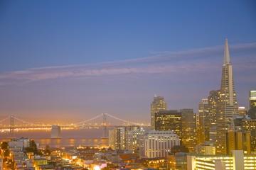 downtown San Francisco at night