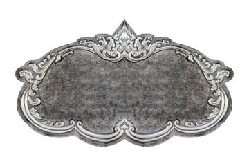 old decorative frame - handmade, engraved - isolated on white ba