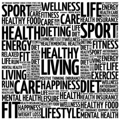 Healthy Living word cloud background, health concept