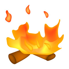 Fire symbol, icon  design. Vector illustration isolated on white background.