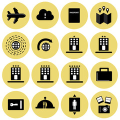 Tourism and hotel room facilities vector icon set