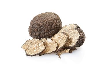 Fototapeta Black truffle and slices on white, clipping path obraz