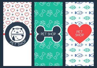 Background, flyer or banner template for pet shop or veterinary