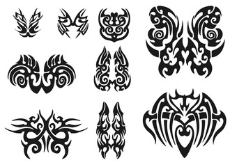 Set of 9 different vector tribal tattoo
