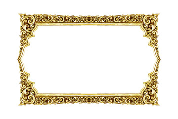 old decorative frame - handmade, engraved - isolated on white ba