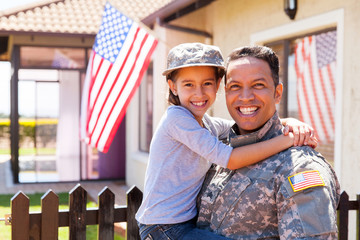 us army soldier and little daughter