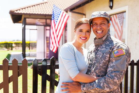 military couple hugging