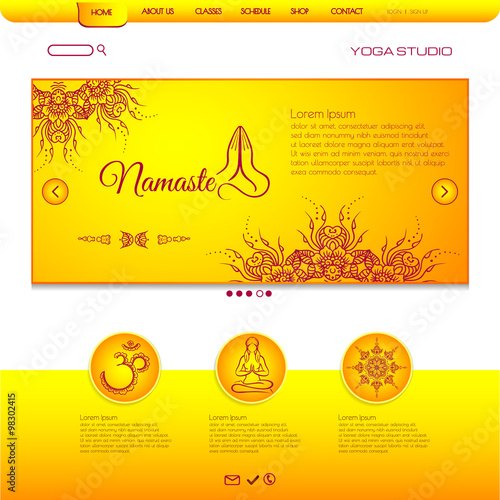 Website template yoga card with floral henna mehndi design om aim website template yoga card with floral henna mehndi design om aim namaste yoga studio or for reheart Images