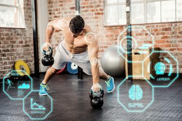 Composite image of shirtless man lifting kettlebell