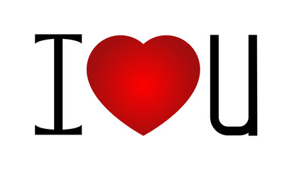 I love u with a red heart