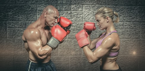 Composite image of side view of boxers with fighting stance