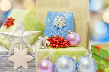 Gift boxes and christmas balls Isolated on white