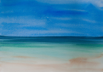 Beautiful beach and tropical sea, watercolor painting