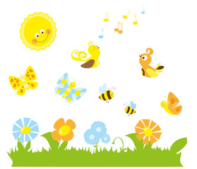 set of cute cartoon nature elements  / spring collection with butterflies, bees and flowers