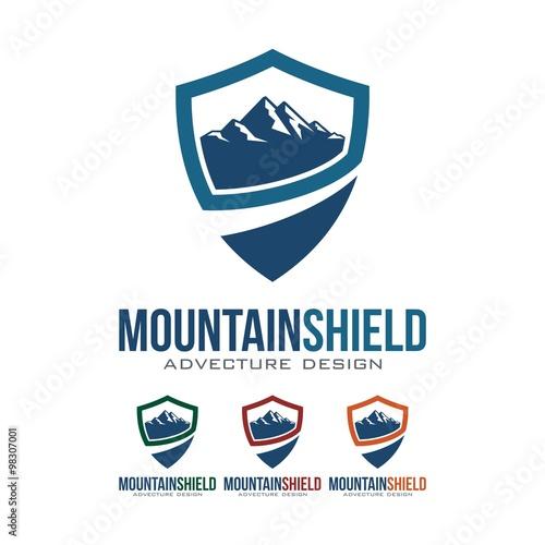 quotshield logo mountain shield adventure design logo vector
