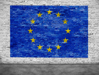 Flag of European Union and foreground
