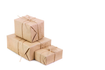 Parcels packed in kraft paper