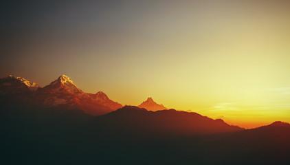 Keuken foto achterwand Chocoladebruin beautiful mountain landscape with sunrise in Himalayas Nepal