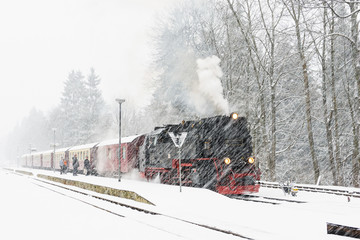 Steam locomotive ready to go to the Brocken in winter, Germany