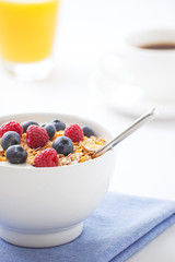 Healthy breakfast with muesli and fresh fruit