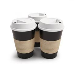 mockup three cups of coffee. 3d