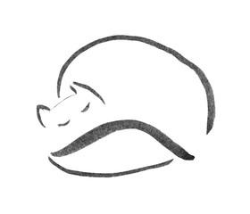 sleeping cat ink sketch