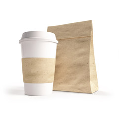 mockup cardboard cup of coffee with a paper bag