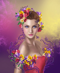 beautiful Fantasy fairy woman with  hairstyle  flowers