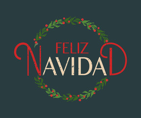 Hand sketched Feliz Navidad (Happy New Year in spanish) logotype