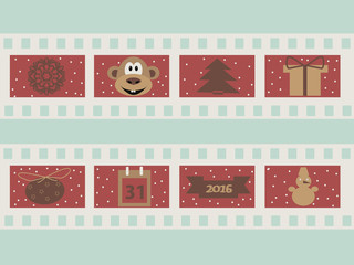 Christmas  illustration 2016 with film strips and snowflakes, gift, monkey, calendar, snowman  and other elements vector illustration