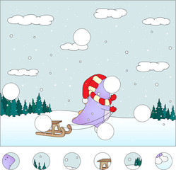 Purple dragon with sled in the winter forest: complete the puzzl