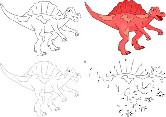 Cartoon Spinosaurus. Vector illustration. Dot to dot game for ki