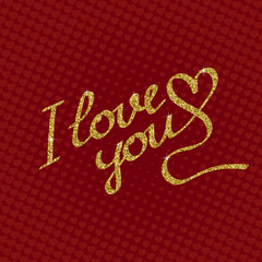 Love you lettering of golden sparkles on red background with hearts. Greeting card template for Valentine's day.