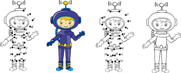 Cartoon astronaut. Vector illustration. Coloring and dot to dot