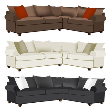 Modern or Contemporary Red, White, Black, or Cream Microfiber or Leather Sectional Sofa Tastefully Decorated with Contrasting Pillows
