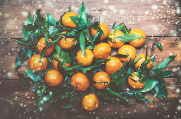 New Year, Christmas Card with Fresh Clementines or Tangerines  w