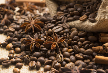 coffee beans and star anise with cinnamon