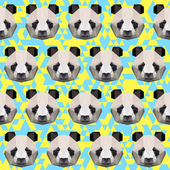 Polygonal panda seamless pattern background