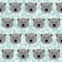 Abstract geometric polygonal white bear seamless pattern backgro