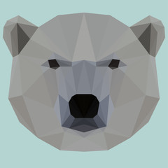 Abstract geometric polygonal white bear background