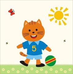 cartoon little kitten boy with ball