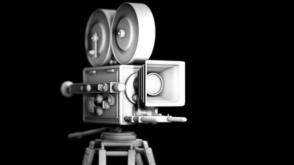 Untextured vintage movie camera isolated on black