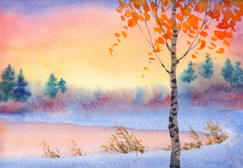 Watercolor winter landscape. Evening sky over lake