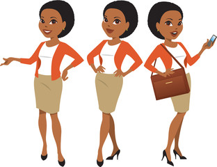 Professional black woman in three poses with different facial expressions
